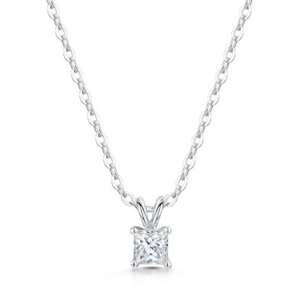 18ct White Gold  G, VS Diamond Princess cut single stone pendant  four claws and split bail.